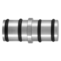 GPF0587.09 koppelstuk ronde rail t.b.v. schuifdeursysteem RVS