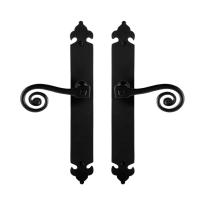 GPF6200.60 smeedijzer zwarte deurkruk Kera op langschild, 291x41x4mm