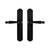 GPF6210.60 smeedijzer zwarte deurkruk Mela op schild, 238x41x4mm