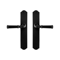 GPF6220.60 smeedijzer zwarte deurkruk Meri op schild, 238x41x4mm