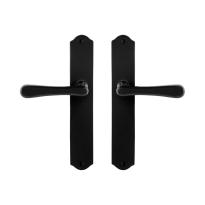GPF6240.60 smeedijzer zwarte deurkruk Paju op schild, 238x41x4mm