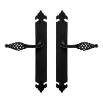 GPF6265.60 smeedijzer zwarte deurkruk Tane op langschild, 291x41x4mm