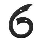 Huisnummer 6 landelijk, smeedijzer zwart, 101 mm