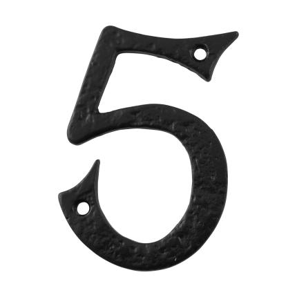 Huisnummer 5 landelijk, smeedijzer zwart, 101 mm