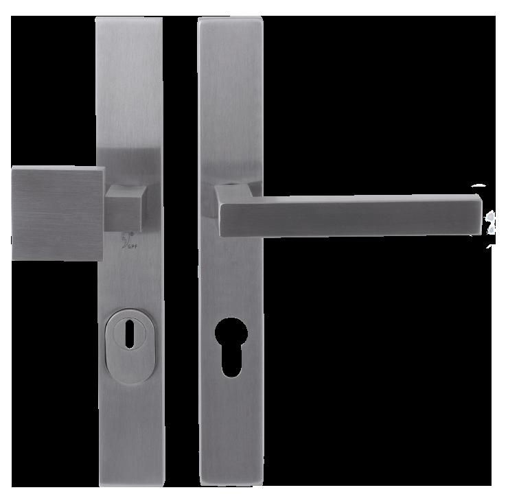 Veiligheidsbeslag GPF deurkruk en deurknop op langschild, met kerntrekbeveiliging