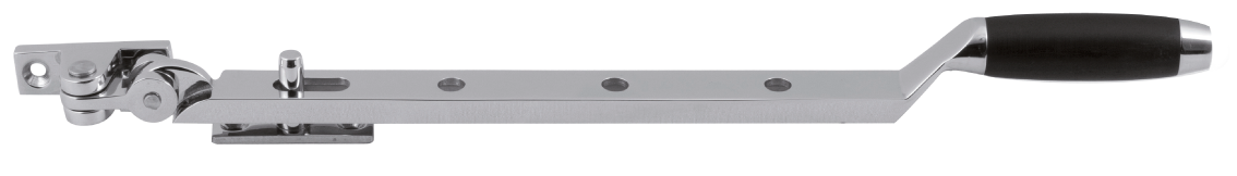 GPF raamuitzetter in het karakteristieke tonmodel van geborsteld RVS en ebbenhout