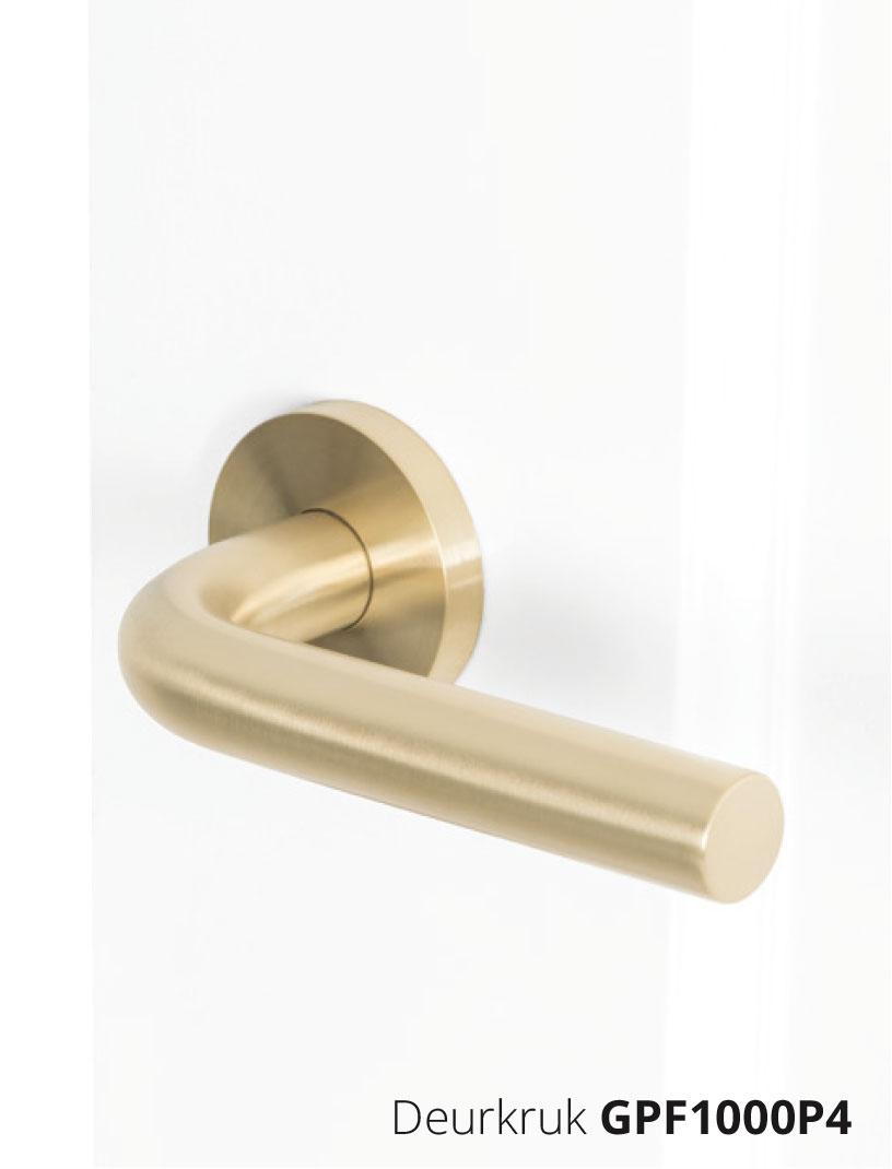GPF1000P4 deurkruk op rozet in mat messing