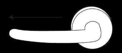 Een deurkruk op rozet met gatdeel links