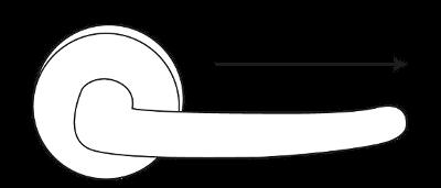 Een deurkruk op rozet met gatdeel rechts